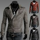 Men's Cool Strong Motorcycle Punk Jacket Slim Fit PU Leather Casual Short Coat