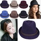 7 Colors Mens Womens Wool Knit Hat Vintage Gangster Fedora Trilby Panama Cap Hot