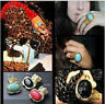 Arty Knuckle Armour Chunky Finger Turquoise Oval Stone Golden Finger Midi Ring