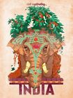 SACRED ELEPHANT VISIT CAPTIVATING INDIA TRAVEL TOURISM VINTAGE POSTER REPRO