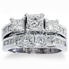 REAL 3.50CT Princess Cut HUGE Diamond Engagement Ring Wedding Band Set 14K (4-9)