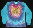 RED TABBY CAT FACE TIE DYE LONG SLEEVE T-SHIRT ORANGE TIGER GINGER CAT