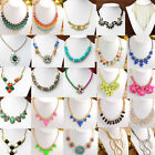 Fashion Boho Style Crystal Rhinestone Gems Beads Choker Bib Statement Necklace