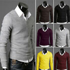 Fashion Men's Sweaters V-neck Medium Knitted Jumpers Shirts Pullover Yellow Gray