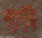 25 WOODEN COLOURED FLOWER SHAPED BUTTONS(854)#SCRAPBOOKING/CRAFTS