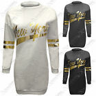 NEW LADIES WOMEN NEW YORK GOLD PRINT TOP LONG SWEATSHIRT JUMPER LOOK SLEEVED