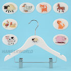 WOODEN CLIP COAT HANGERS FUN FARM ANIMALS CHILDREN'S CLOTHES 30cm HANGERWORLD