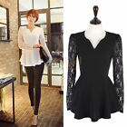 Fashion Sexy Women Long Sleeve Lace Chiffon Shirt Flared Blouse Tops T-shirt
