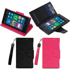 Black Pink PU Leather Wallet Stand Case Cover Card Pockets For Nokia Lumia 1020