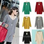 Womens Candy Color Loose V-Neck Cable Knitted Long Pullovers Jumper Sweater Tops