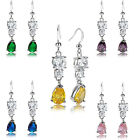 Fashion Jewelry Lady Yellow Citrine White Gold Plated Dangle Drop Gift Earrings