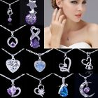 Silver Plated Crystal Amethyst Rhinestone Heart Pendant For Necklace Jewellery