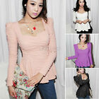 Womens Low-cut Ruched Puff Long Sleeve Slim Fit Peplum Tunic Blouse T Shirt Top