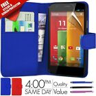 FLIP WALLET LEATHER CASE COVER FITS MOTOROLA MOTO G FREE SCREEN GUARD
