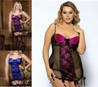 SEXY LACE Babydoll 8 10 12 14 16 18 20 22 24 Pink Purple Blue Black Garters