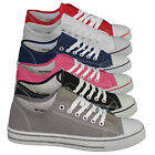 WOMENS FLAT PUMPS LADIES SHOES CANVAS PLIMSOLLS GIRLS TRAINERS SIZE 3 4 5 6 7 8