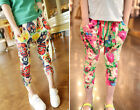 NWT New Girls Kids Flower Trousers Casual Cropped Harem Pants Baggy Size 2-8Yrs