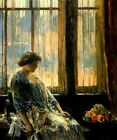 LADY GIRL THE NEW YORK WINDOW FLOWERS 1912 FINE PAINTING BY CHILDE HASSAM REPRO