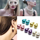 2x Double Round Faux Pearl Clip on Ear Stud Women's Fashion Earrings Top Quatity