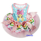 Easter Bunny Pink Pastel Chevron Polka Dots Party Dress Small Pet Dog Clothes