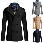 Men trench Coat Winter  Slim Fit Long Warm Double-breasted Coats Jacket DarkBlue