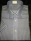 BNWOT Mens Ex-H/Str Non-Iron Pure Cotton S/Sleeve Blue Striped Shirt - 14.5-16