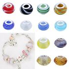 1pc 925 Sterling Silver Lampwork Glass Spacer Beads Charms European Bracelet DIY