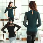 New Women's Lapel Mesh&Lace Splicing Long Sleeve Spring Base T Shirt Top Blouse