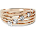 G/SI 14K Rose Gold .50 Ct Diamond Right Hand Journey Ring Size 4-9