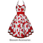 RKH38 Hearts & Roses Red Floral Rockabilly Formal Evening Dress 50s Retro Plus