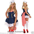 I55 Sailor Girl Nautical Navy Adult Ladies Uniform Fancy Dress Up Costume & Hat