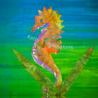 Tropical SEAHORSE Neon Colors~ Batik Fabric Quilt Panel Block~ Hawaiian Hawaii