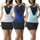 Women Sexy Halter Backless Evening Stretchy Cocktail Club Dress Blue M2451