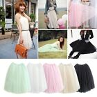 Women Girl Lady Gauze Tutu 5 Layer Skirt Long Elastic Waistband Pettiskirt Dress