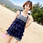 New 0200 Blue Floral Swimwear Swimsuit Swimdress Tankini Top with Tiered Ruffles
