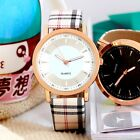 New Stylish Plaid Pattern Women Men Leather band Sport Casual Quartz Wrist Watch