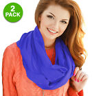 2 Pack: Carnival Fashion Infinity Closed Loop Scarf Worn in Many Fashions
