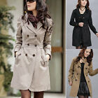Women Double Breasted Slim Fit Long Trench Coat Jacket Parka Outwear Top