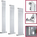 Vertical Chrome Flat Panel Column Designer Bathroom Central Heating Radiators