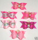 Val's Dog Bows  x-sm Pink Rhinestone Dazzlers GET ALL 6! USA MADE for Yorkie ++