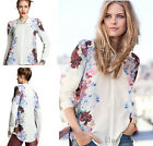 New woman  Vintage Floral Printed chiffon long-sleeved T Shirt Blouse Women Tops