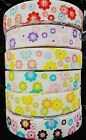 25mm wide - 2 YARDS FLOWER POWER GROSGRAIN RIBBON - VARIOUS COLOURS - U CHOOSE