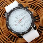 Men's Fashion Silicon Gel Band Big Round Dial QUARTZ Casual Sport Wrist Watches
