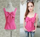 Sweet Sexy Womens New Sleeveless Ladies Scoop Neck Rose Red Bow Vest Tank Top