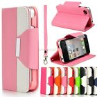 New Bling Leather Shining Crystal Flip Wallet Luxury Case Cover for iPhone 4 4S