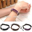 1x Men MultiWrap Leather Wire Rope Surf Surfer Bracelet Wristband Wrap Cuff Gift