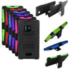 For Nokia Lumia 928 Hybrid Case Silicone edge Hard Cover Stand + Holster Clip