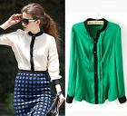 Summer women ladies stitching Collarless long sleeve Slim Chiffon shirt blouses