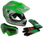 Youth Motocross Dirt Bike Off-Road MX Green Flame Helmet+Goggles+Gloves~S, M, L