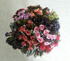 12 wired paper rose buds with leaves - choice of colours
